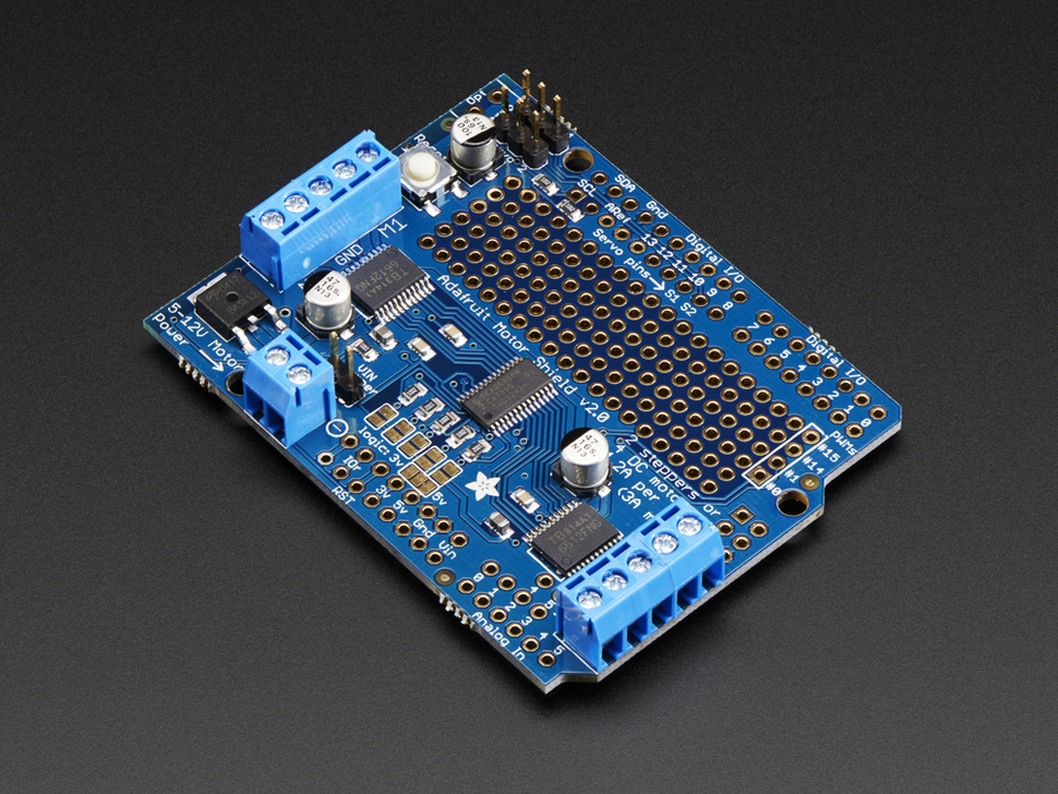 Adafruit Motor/Stepper/Servo Shield for Arduino v2 Kit [v2.3] ID: 1438 - $19.95 : Adafruit Industries, Unique & fun DIY electronics and kits