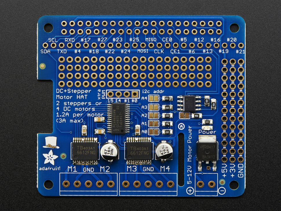 Adafruit DC & Stepper Motor HAT for Raspberry Pi - Mini Kit