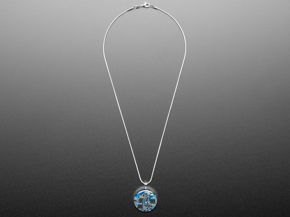 Blue Circuit Board Pendant Necklace With Silver Chain Id 3916