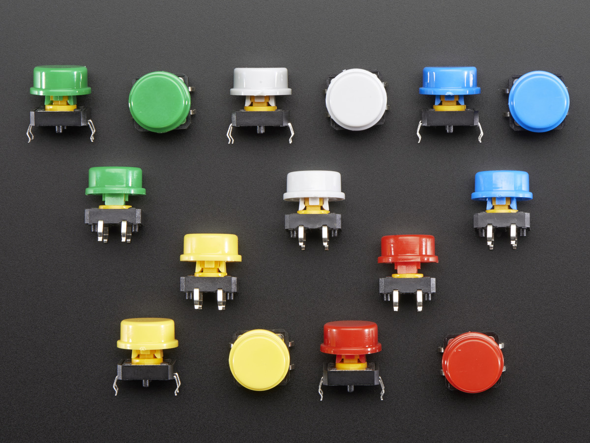 Tactile Button Switch 6mm X 20 Pack Id 367 250 Adafruit Normally Open Spst Wiring Diagram Colorful Round Assortment 15