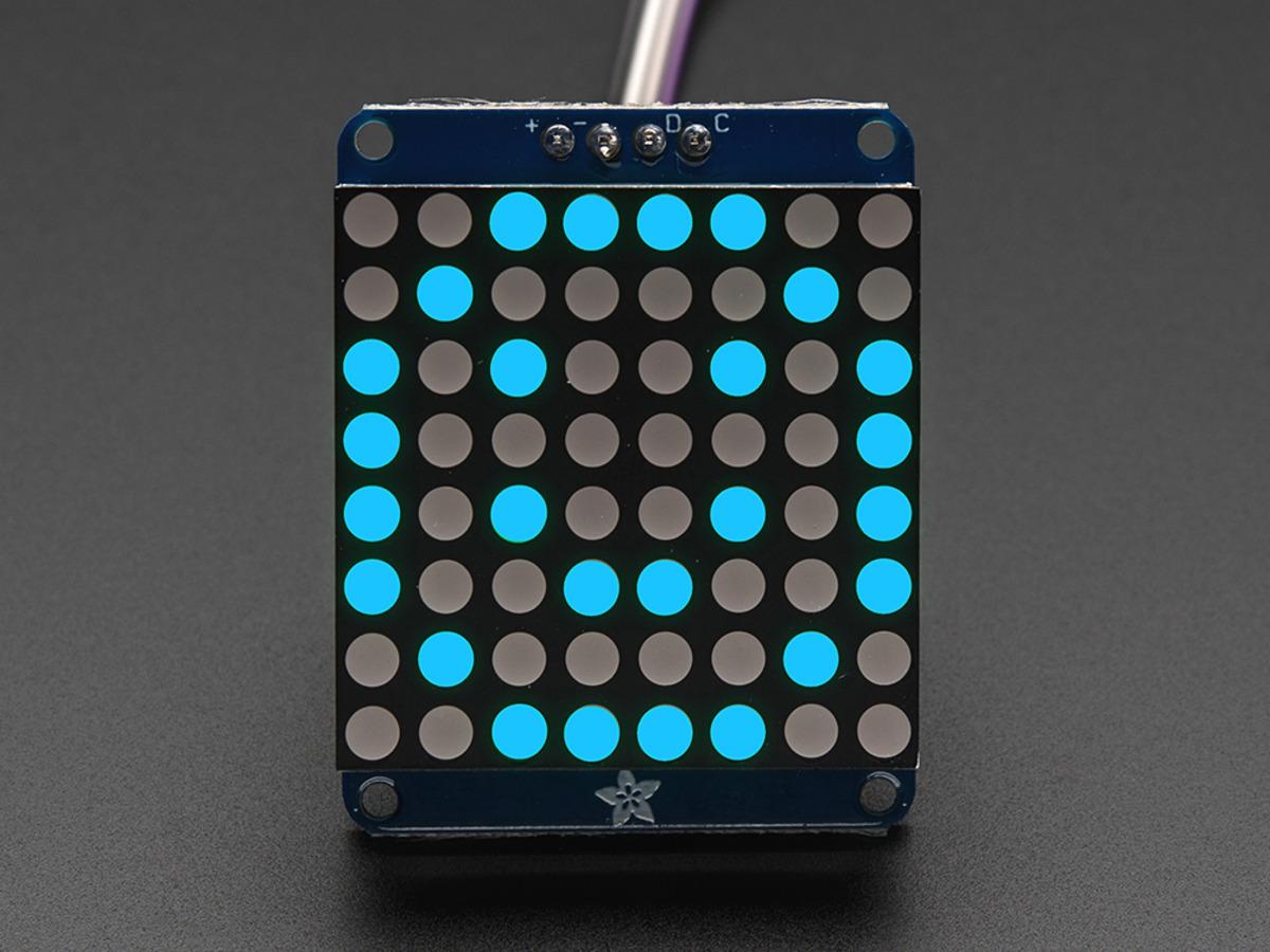 Adafruit Small 1 2 8x8 LED Matrix w/I2C Backpack - Blue ID: 1052