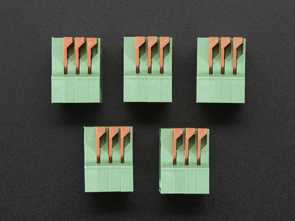 "Configurable Spring Terminal Blocks - 3 Pin 0.1"" Pitch R/A ..."