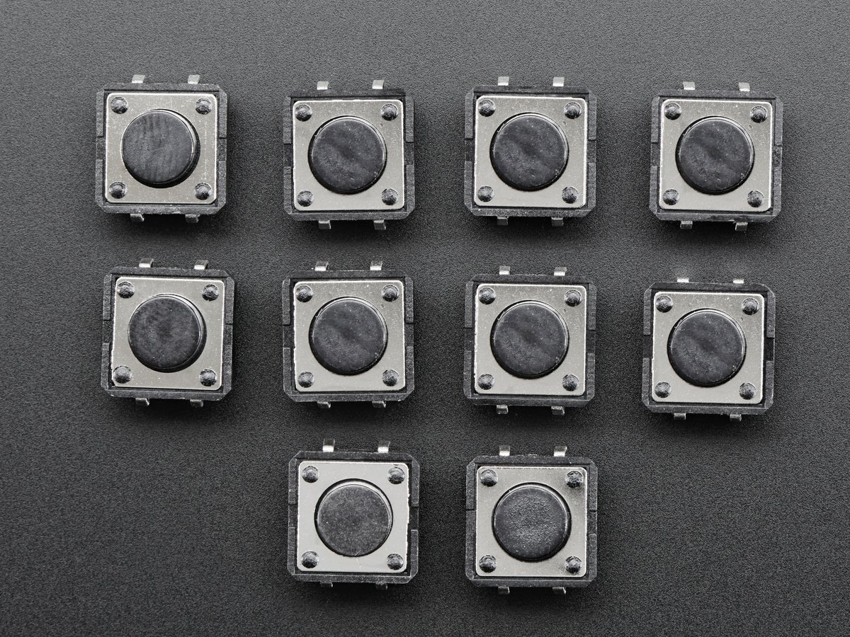 Tactile Switch Buttons (12mm square, 6mm tall) x 10 pack ID: 1119 ...