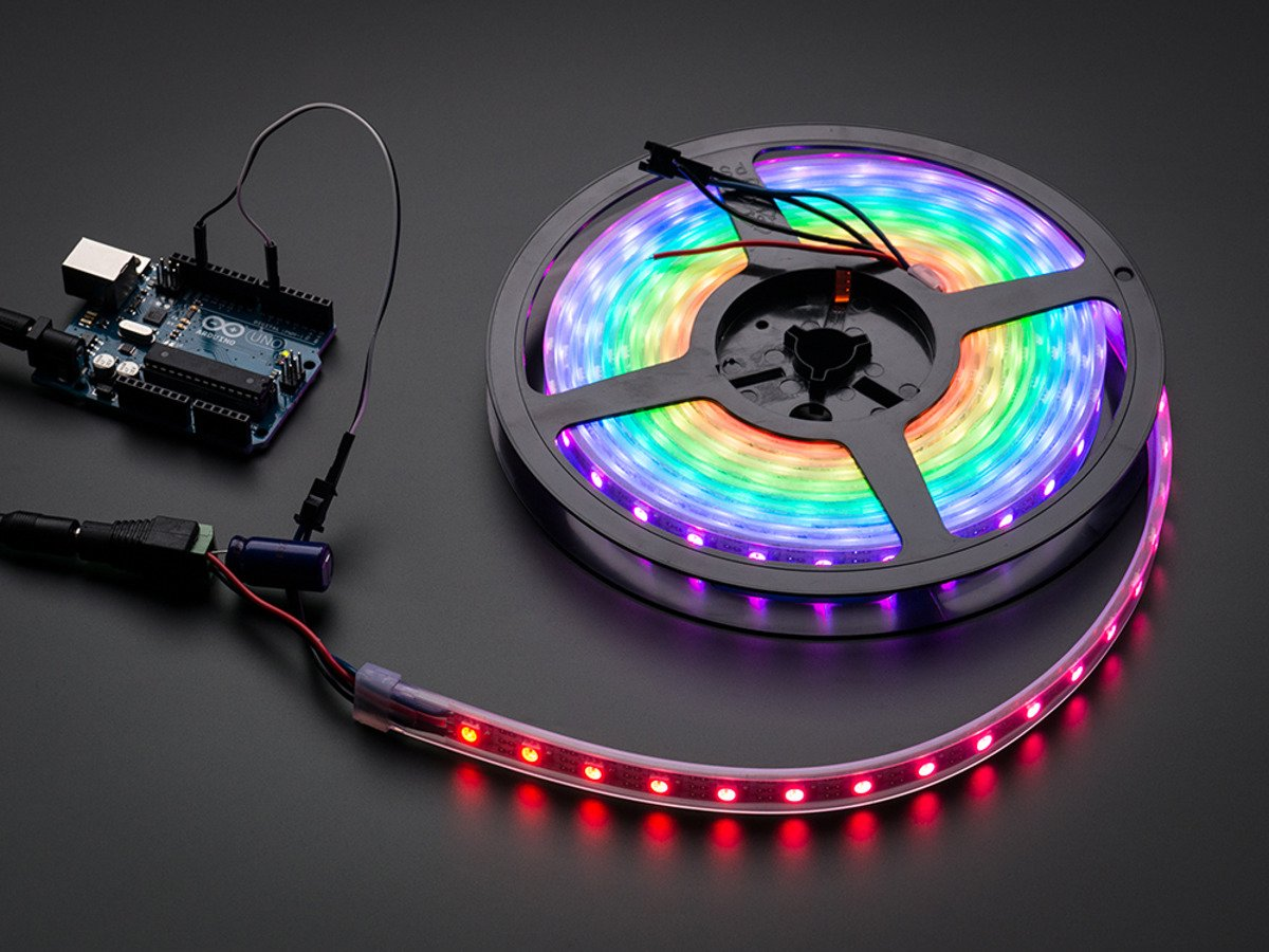 Adafruit Neopixel Digital Rgb Led Strip White 60 Id If A Is Used Instead Of Bulb The Connections Will Require Bit