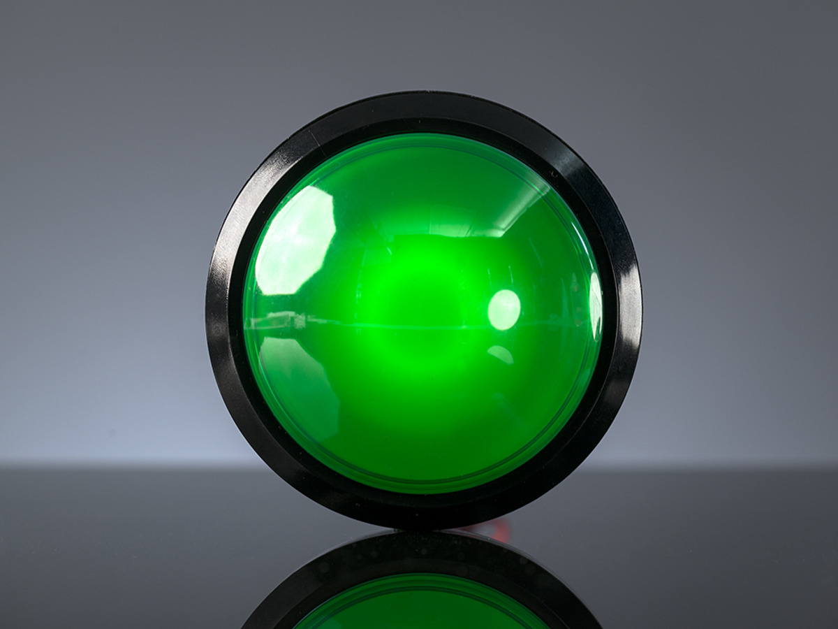 Massive arcade button with led 100mm green id 1188 9 - Green button ...