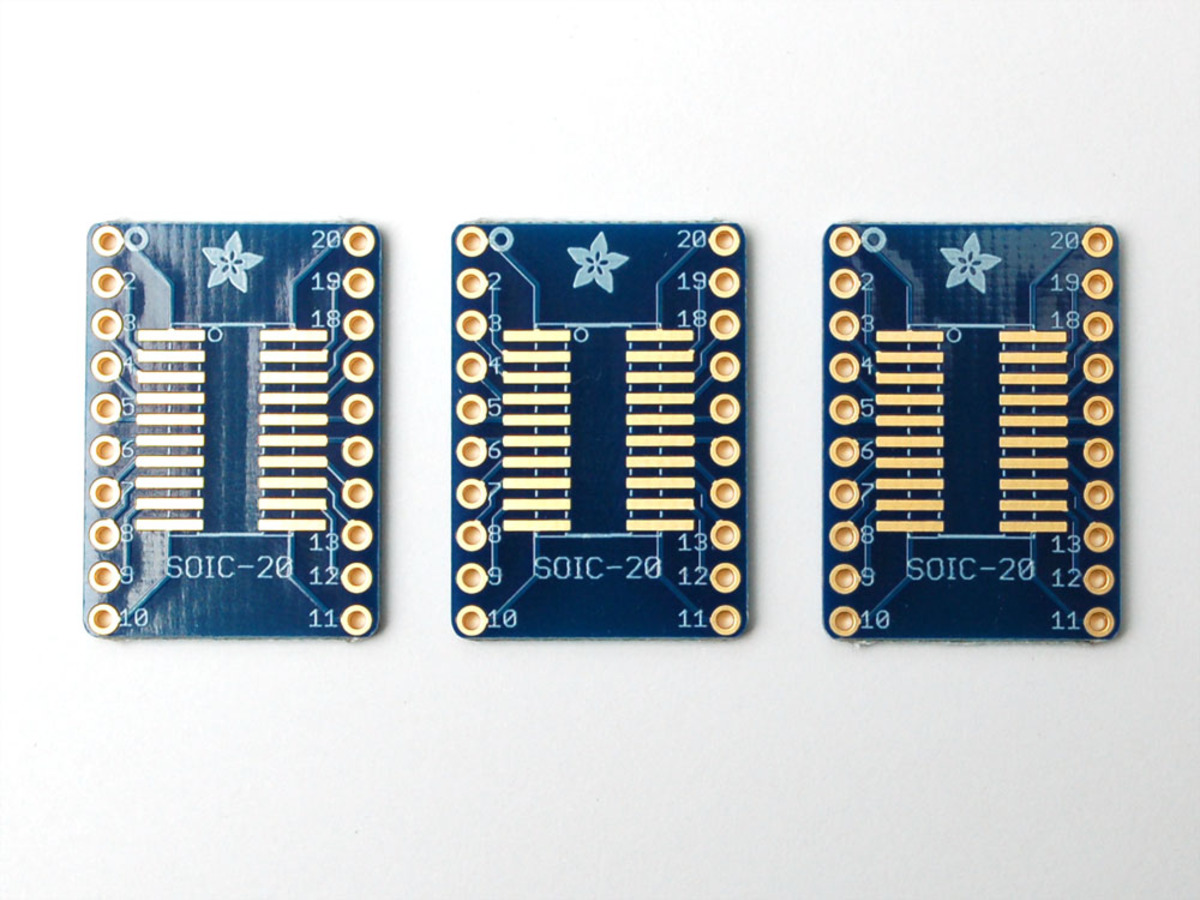 SMT Breakout PCB for SOIC-20 or TSSOP-20 - 3 Pack! ID: 1206
