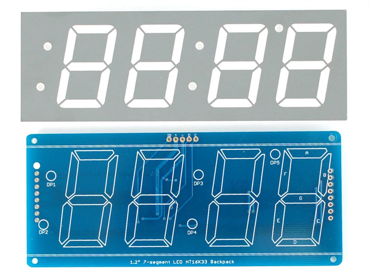 Adafruit 12 4 Digit 7 Segment Display W I2c Backpack Green Id Seven Circuit Diagram Further Matrix Led 12quot