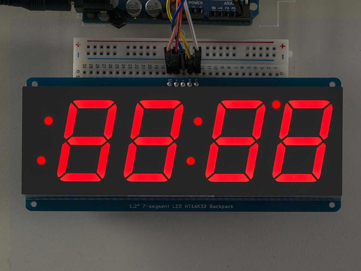Adafruit 12 4 Digit 7 Segment Display W I2c Backpack Red Id 1270 Digital Count Down Timer Circuit Using Pic Microcontroller