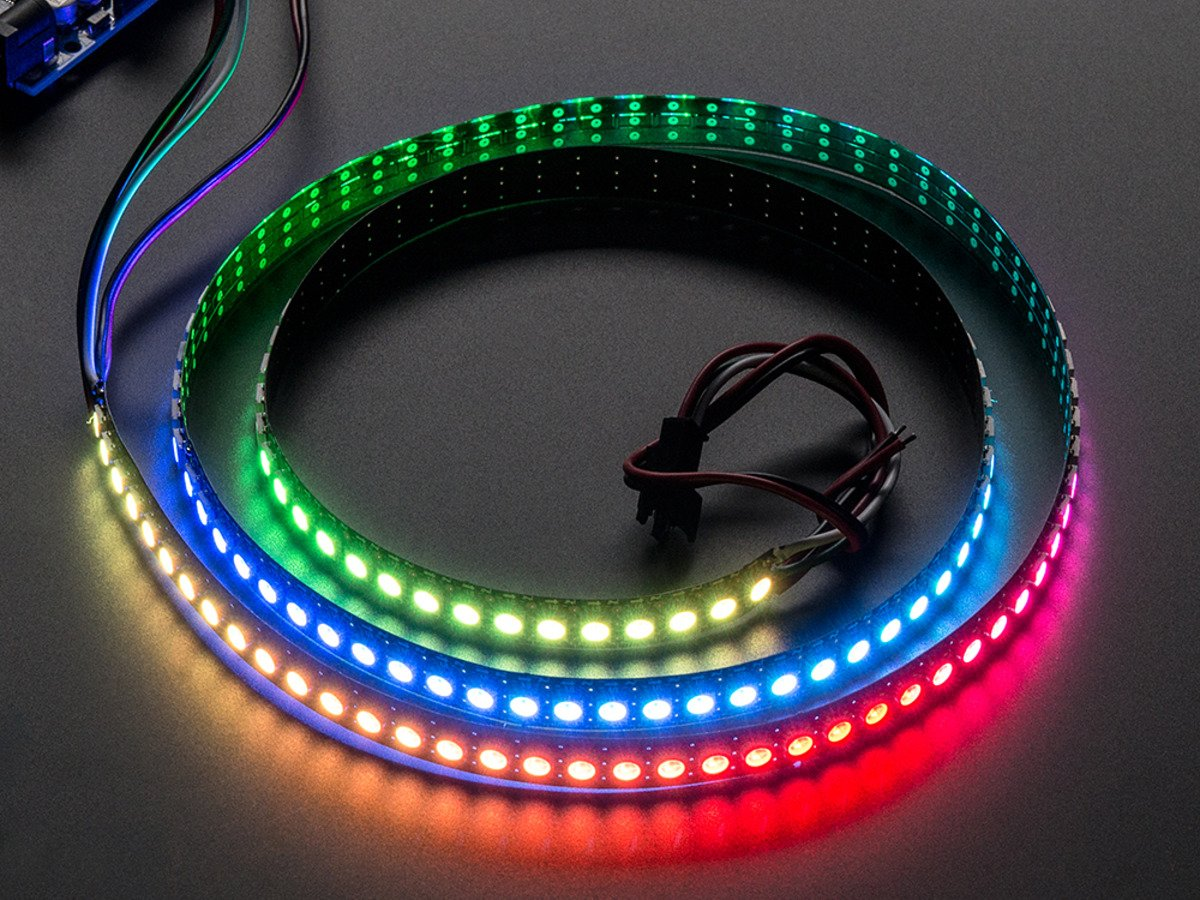 Adafruit Neopixel Digital Rgb Led Strip 144 1m Black 12v Operated White Driver For Up To 30 Leds