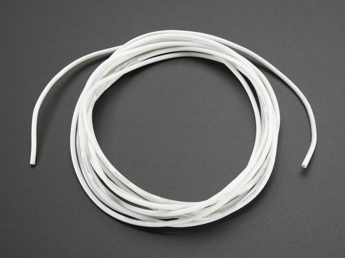 Silicone Cover Stranded-Core Wire - 2m 26AWG White ID: 1882 - $0.95 ...