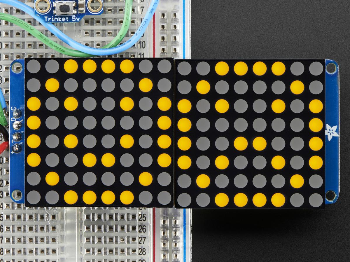 """16x8 1.2"""" LED Matrix + Backpack-Ultra Bright Round Orange ..."""