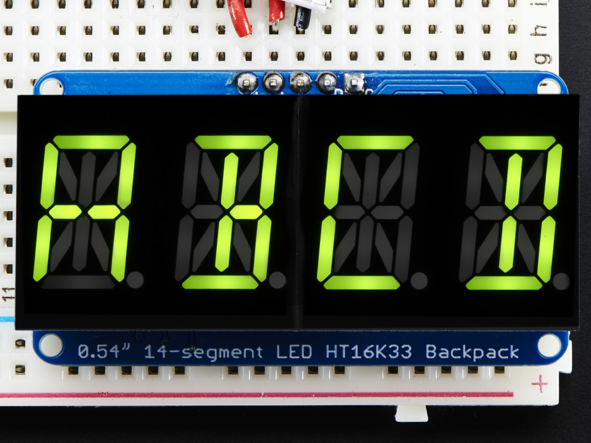 "Quad Alphanumeric Display -Yellow-Green 0.54"" Digits w/ Backpack ..."