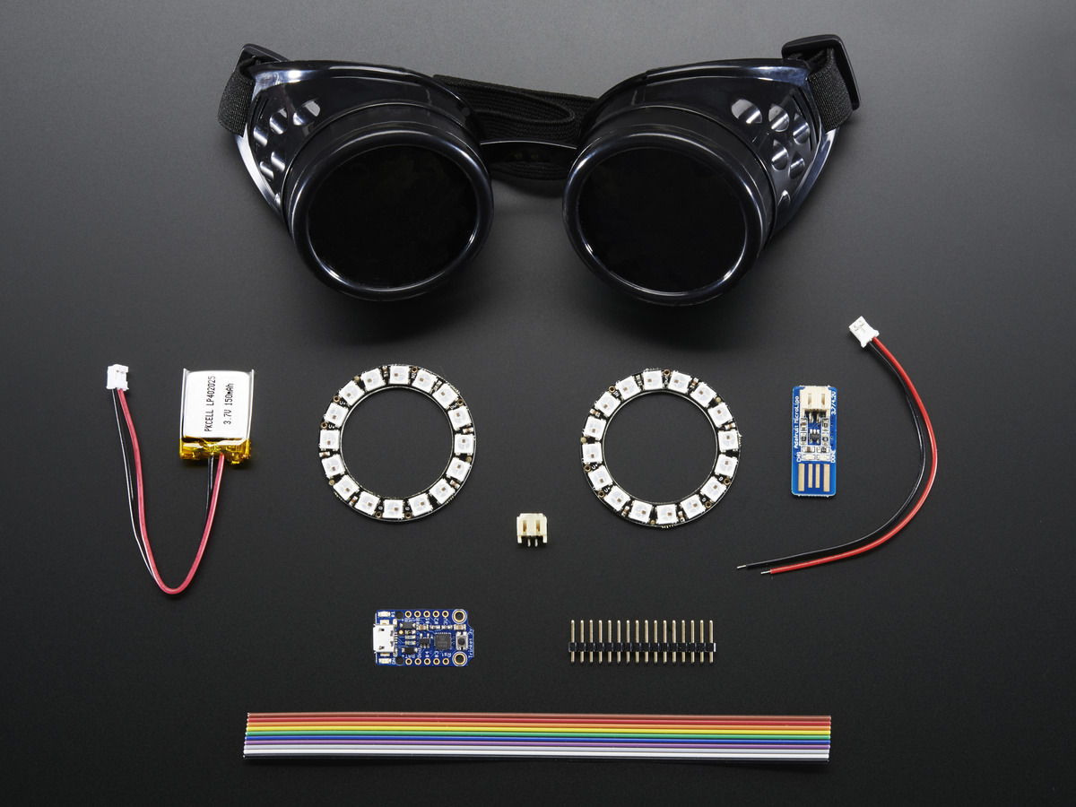 powered goggles  Trinket-Powered NeoPixel Goggle Kit Pack ID: 2221 - $39.95 ...