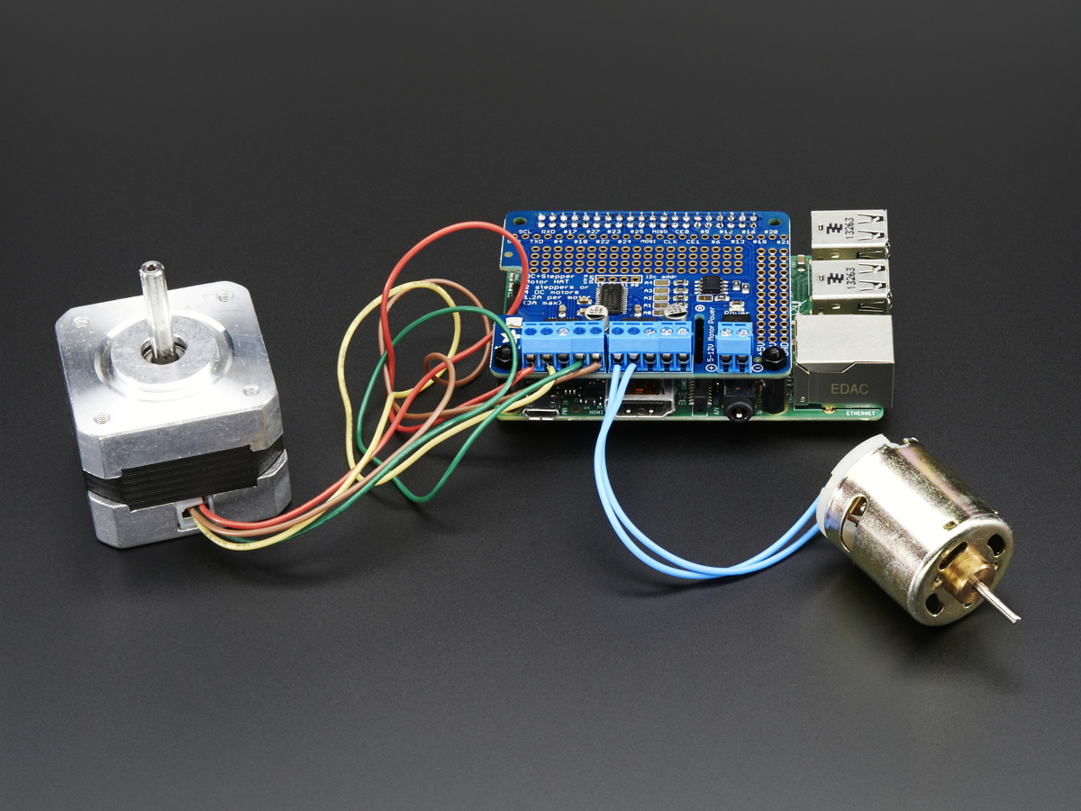 Adafruit dc stepper motor hat for raspberry pi mini for Dc stepper motor working
