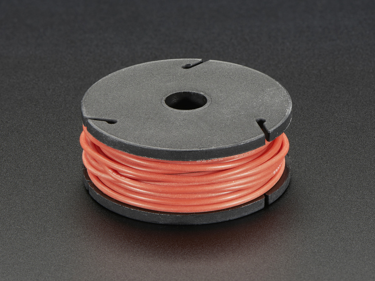 Silicone Cover Stranded-Core Wire - 25ft 26AWG - Red ID: 2513 ...