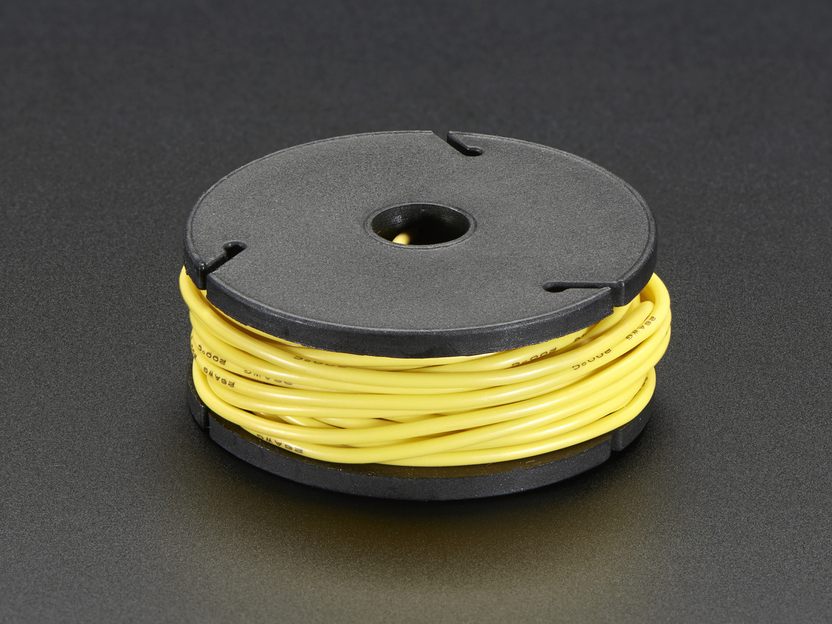 Silicone Cover Stranded-Core Wire - 25ft 26AWG - Yellow ID: 2515 ...
