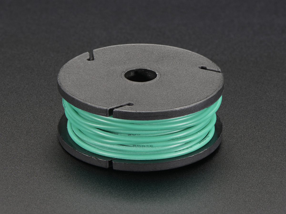 Silicone Cover Stranded-Core Wire - 25ft 26AWG - Green ID: 2516 ...