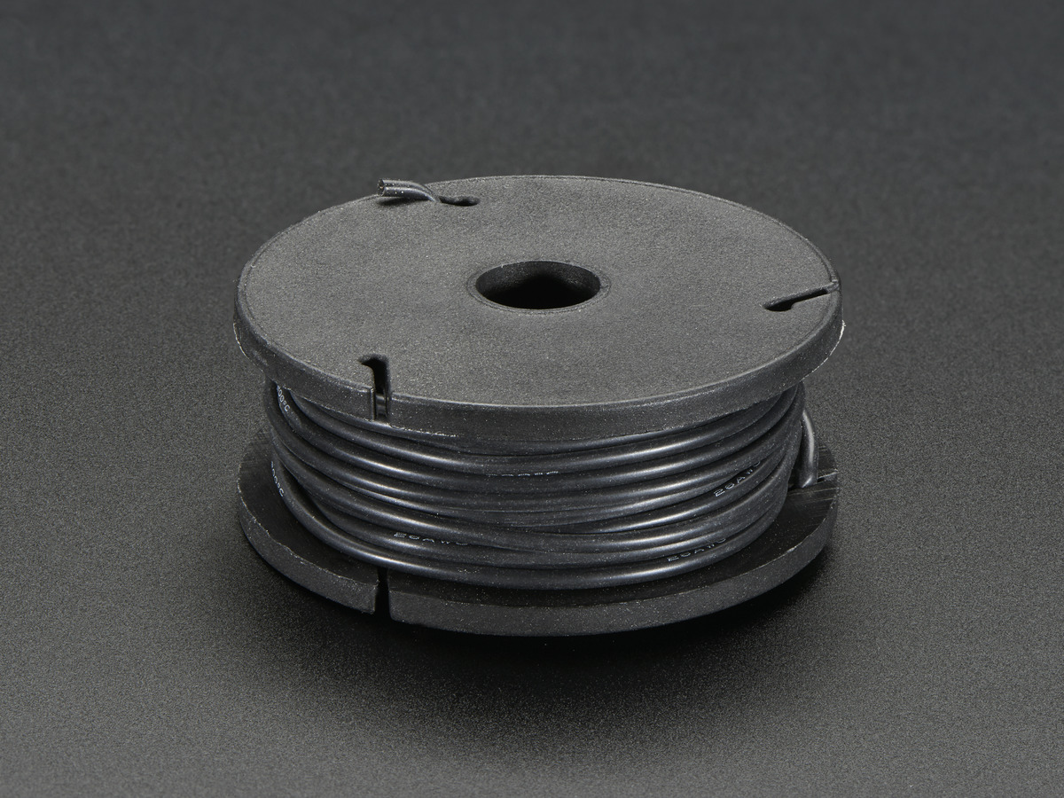 Silicone Cover Stranded Core Wire 25ft 26awg Black Id 2517 For Harness
