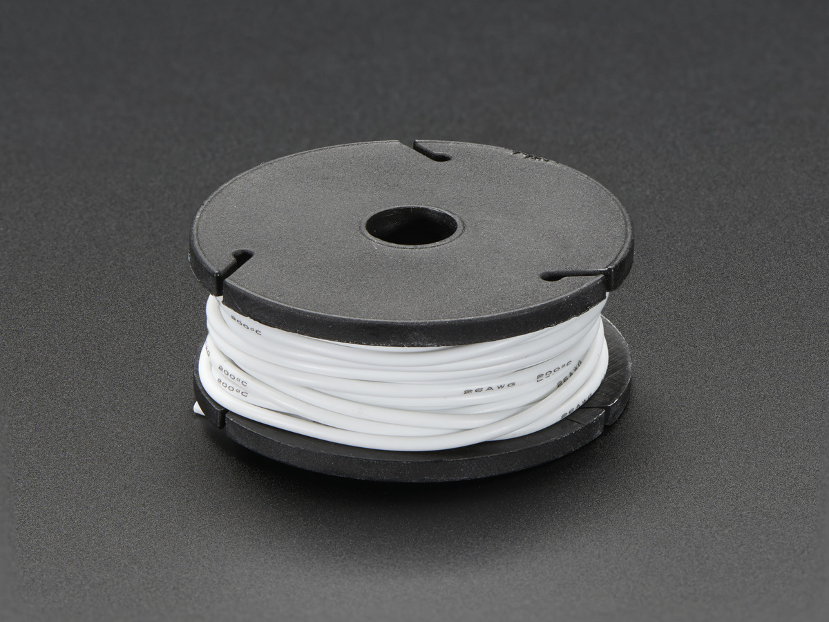 Silicone Cover Stranded-Core Wire - 25ft 26AWG - White ID: 2518 ...