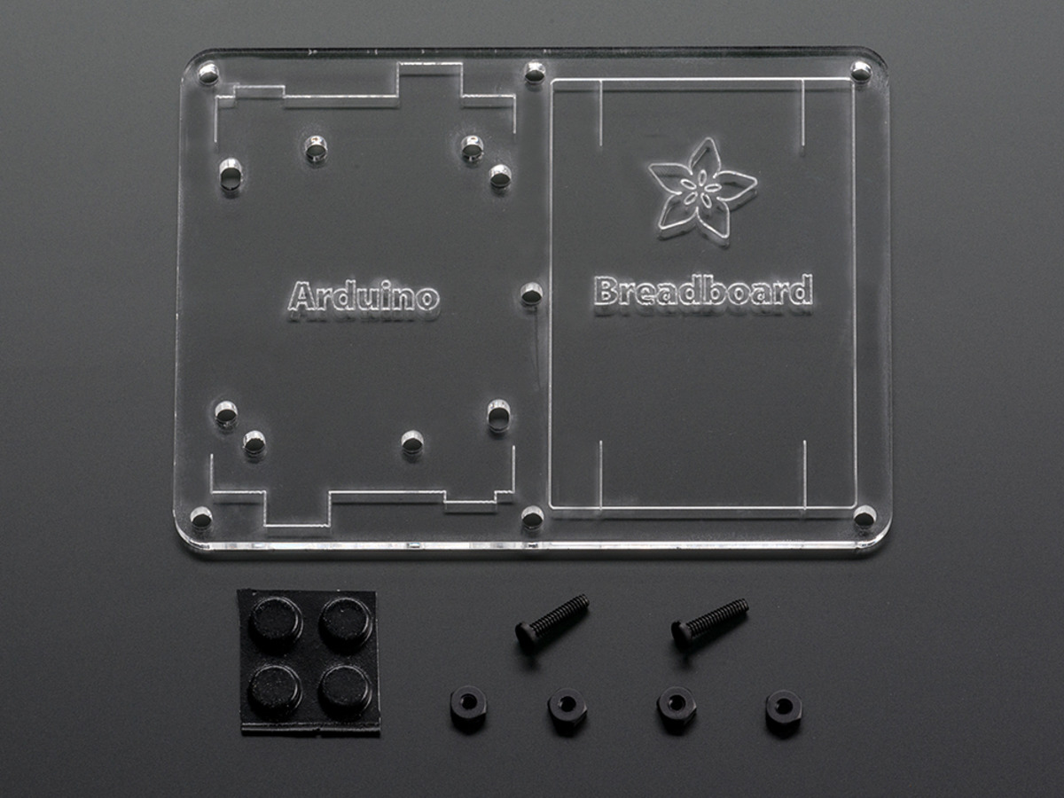 Plastic mounting plate for breadboard and arduino rubber