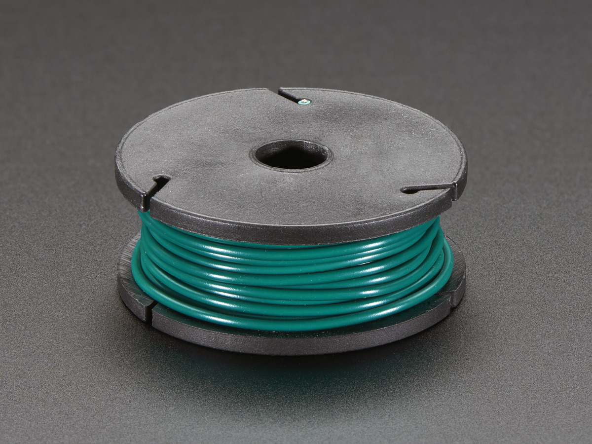 Solid-Core Wire Spool - 25ft - 22AWG - Green ID: 2988 - $2.95 ...