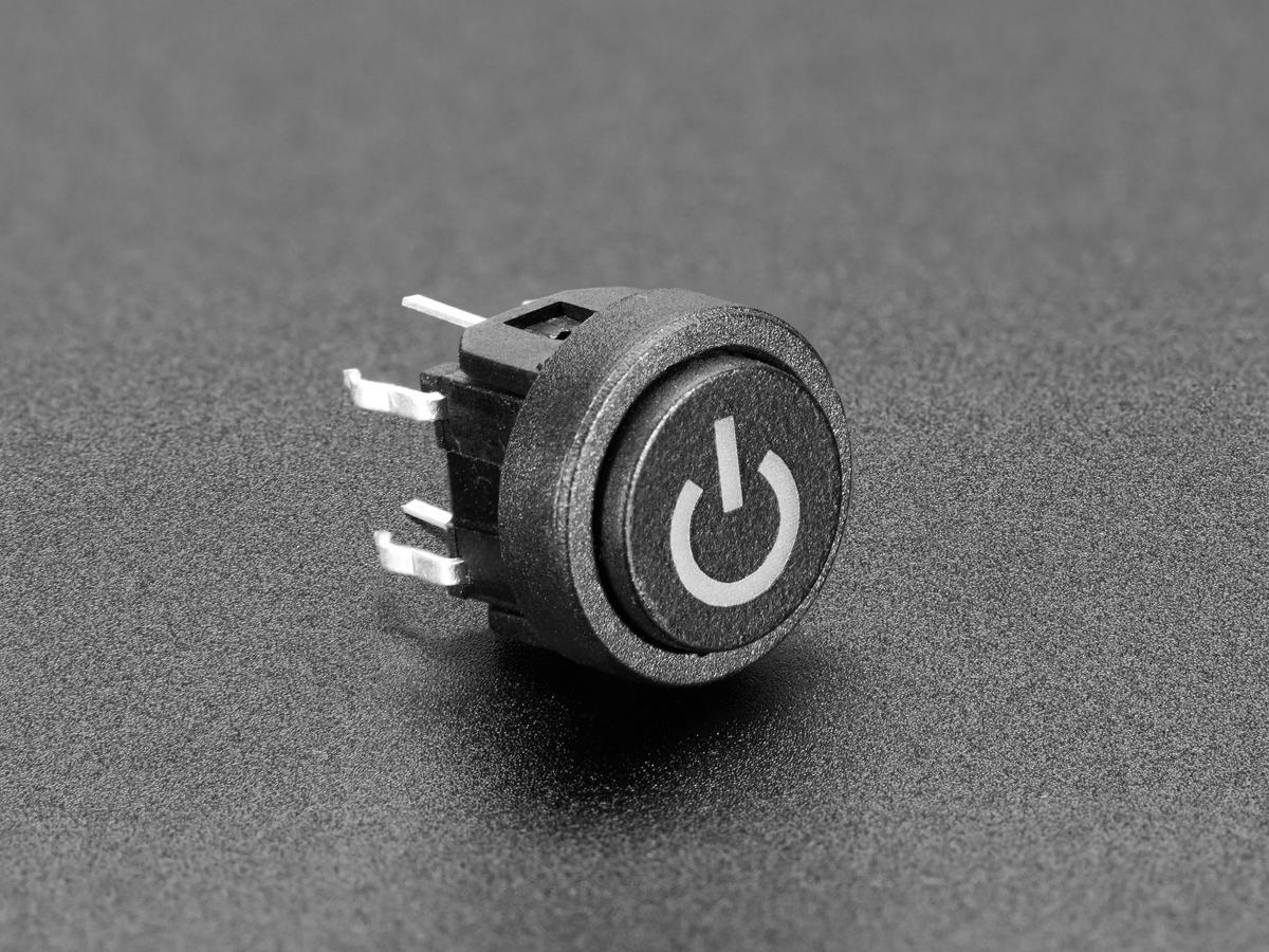 Mini illuminated momentary pushbutton red power symbol