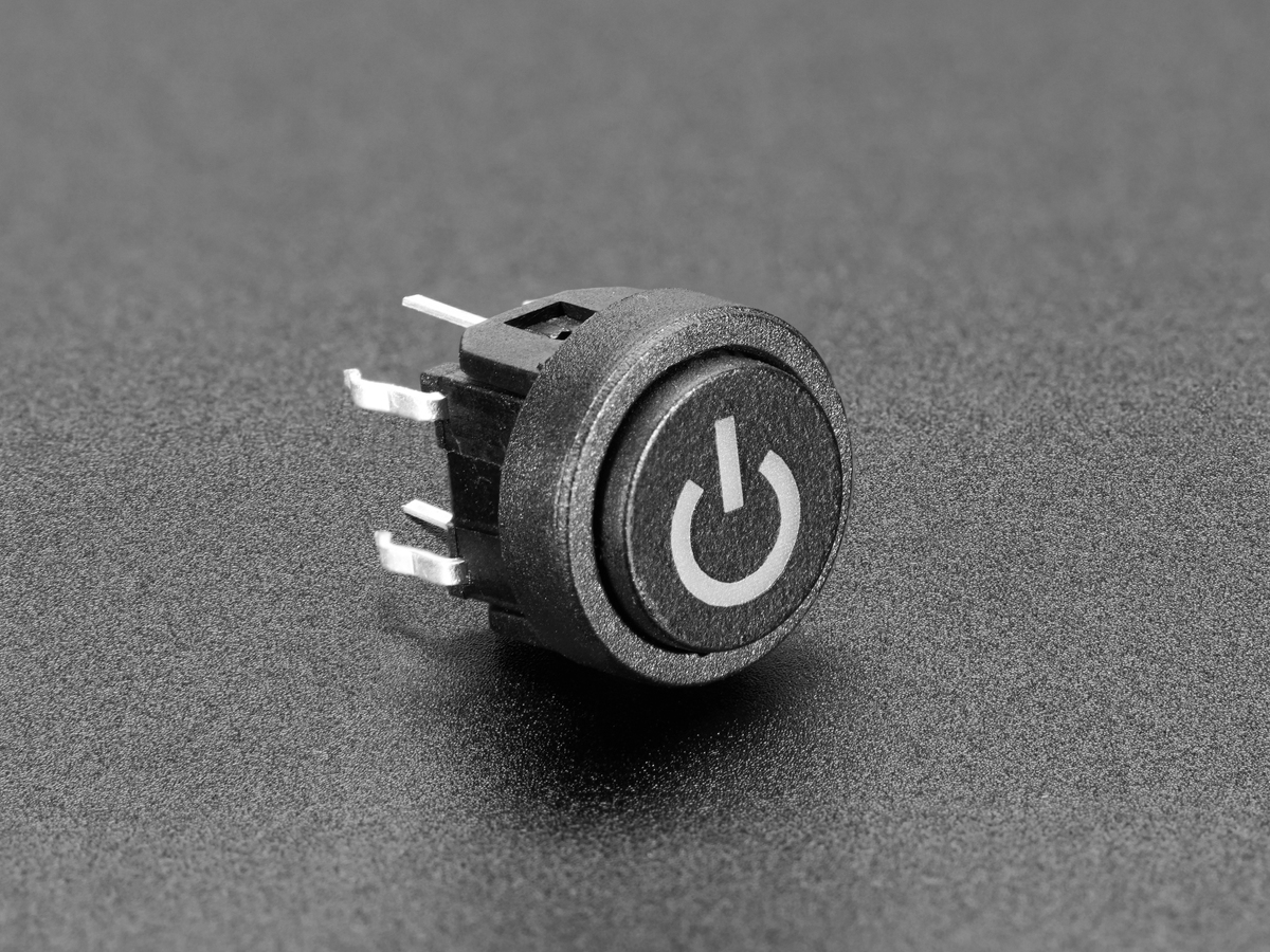 Mini illuminated momentary pushbutton blue power symbol