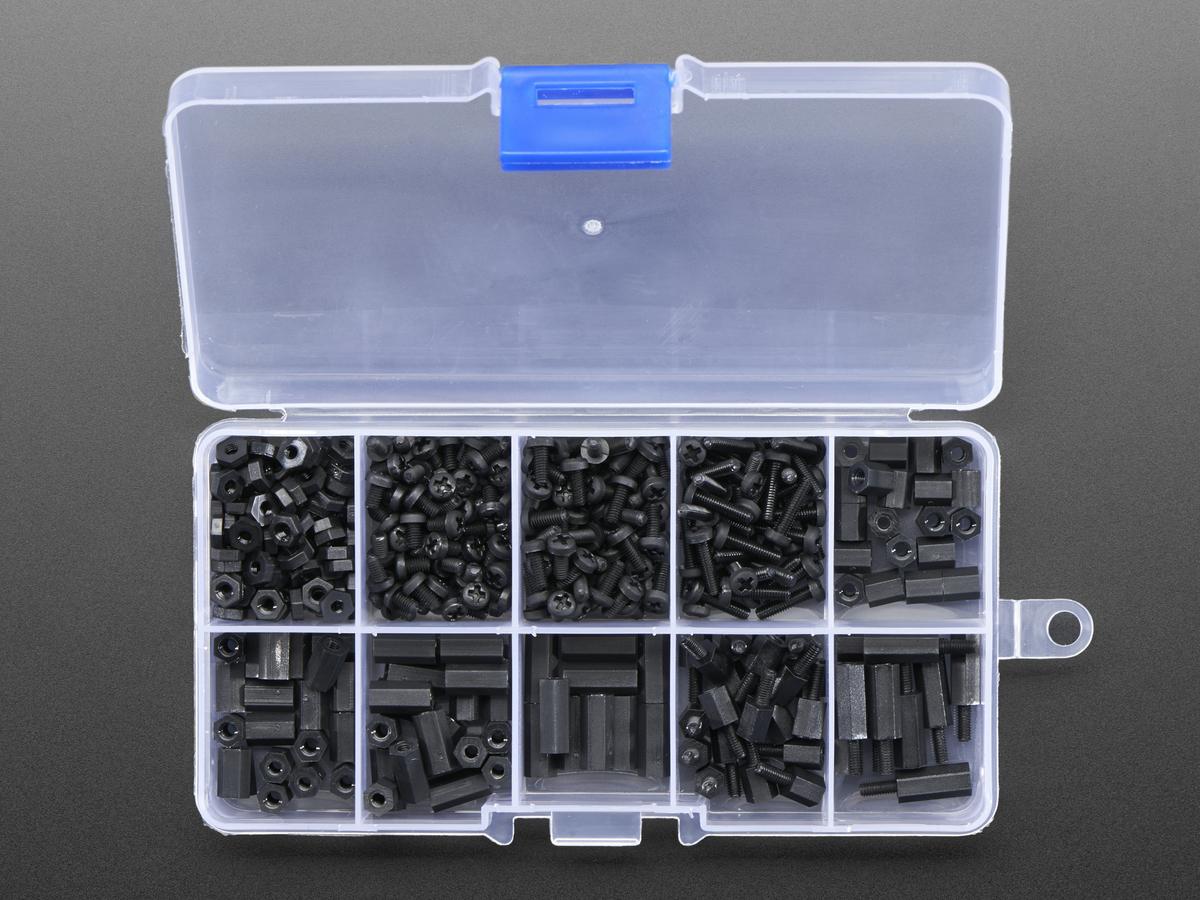 Black Nylon Screw and Stand-off Set – M2 5 Thread ID: 3299 - $16 95