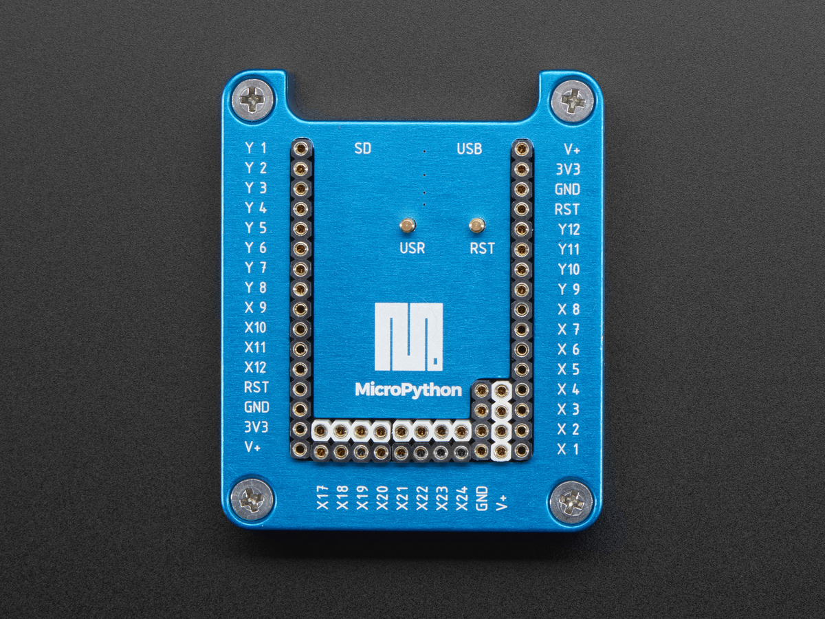 MicroPython pyboard Anodized Housing with Open Lid ID: 3496