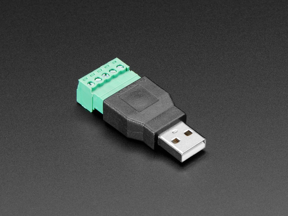 USB-A Male Plug to 5-pin Terminal Block ID: 3628 - $4.95 : Adafruit on usb cable drawing, usb pin guide, usb pinout, usb pin power, usb circuit diagram, usb port diagram, usb power diagram, usb cable diagram, usb pin connector, usb pin cable, usb pin specification, usb pin configuration,