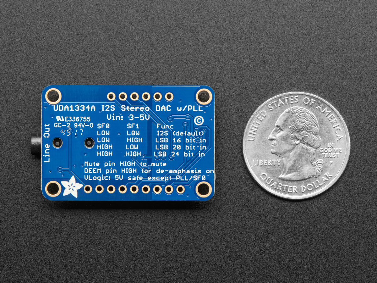Adafruit I2S Stereo Decoder - UDA1334A Breakout ID: 3678 - $6 95