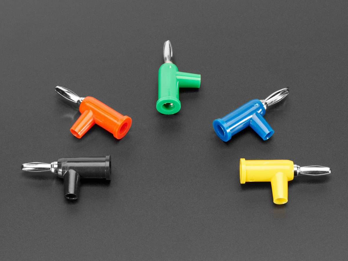 solder-free stackable banana plugs 4mm - pack of 5 multi-color