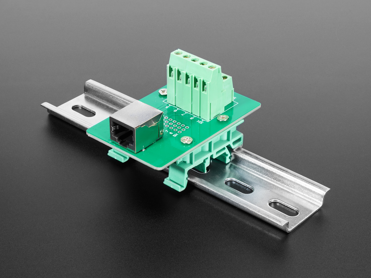 DIN Rail RJ-45 To Terminal Block Adapter [Right Angle Jack