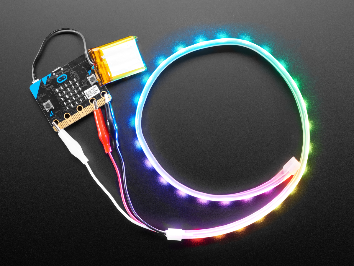 Adafruit NeoPixel LED Strip w/ Alligator Clips - 60 LED/m [0.5 Meter ...