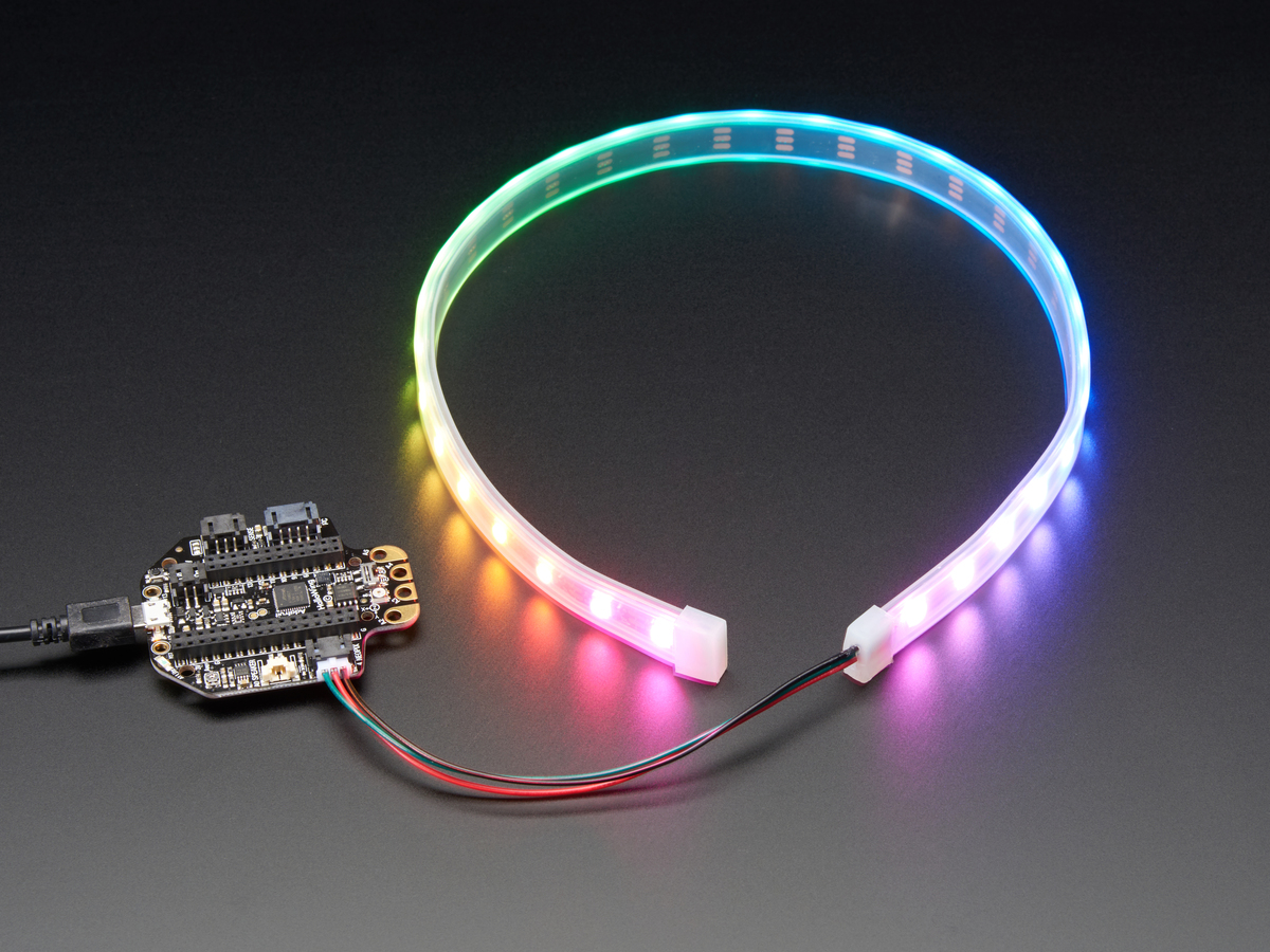 Adafruit NeoPixel LED Strip with 3-pin JST Connector [60 LED/meter ...