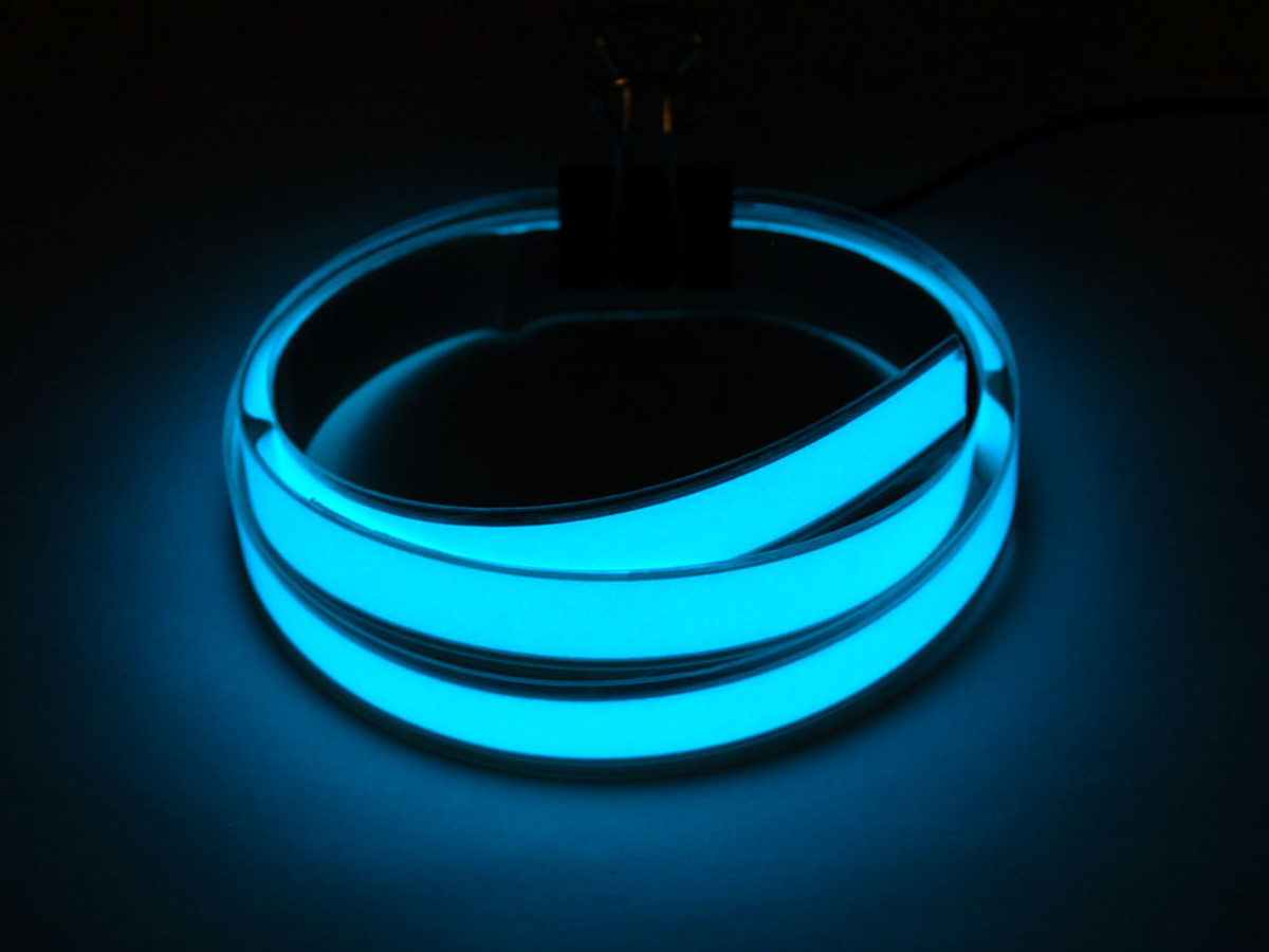 Aqua Electroluminescent (EL) Tape Strip - 100cm w/two connectors & Aqua Electroluminescent (EL) Tape Strip - 100cm w/two connectors ID ...