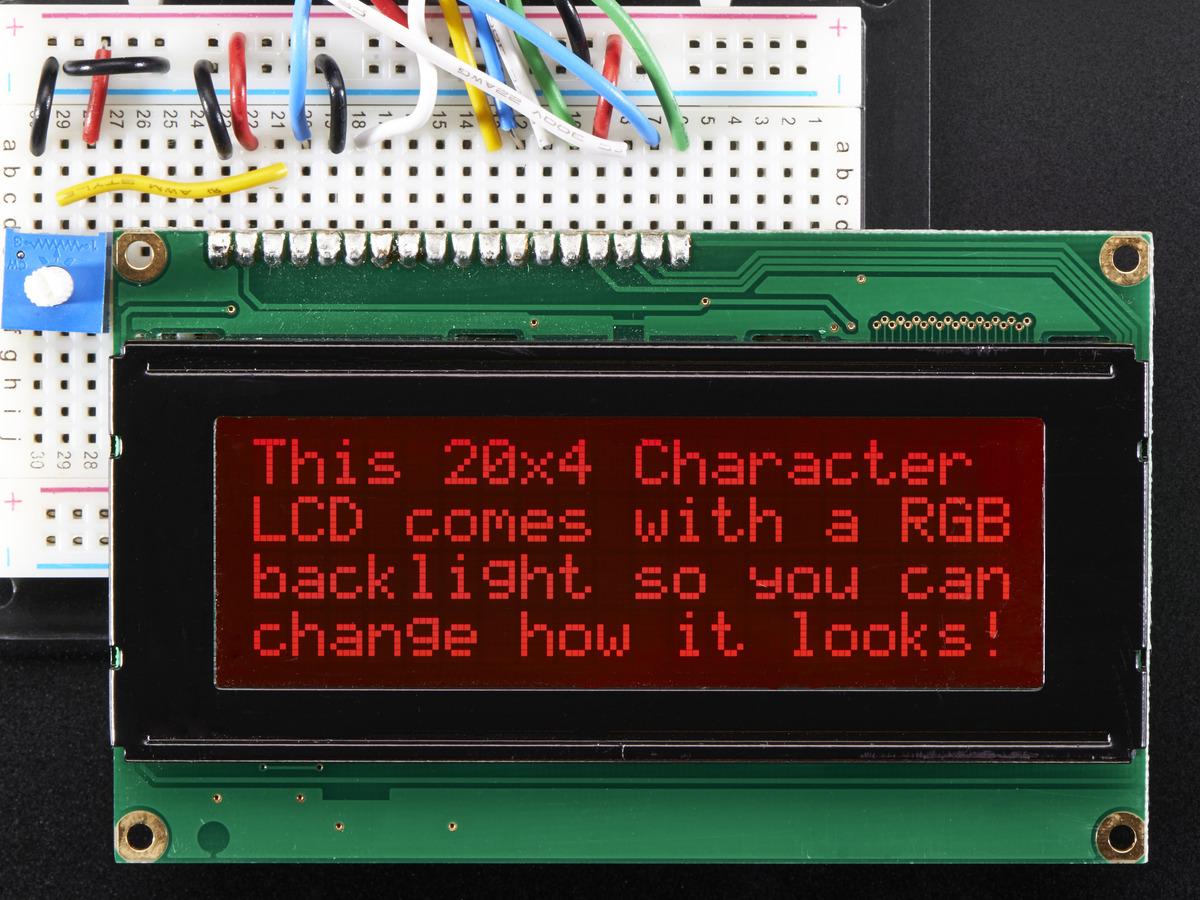 RGB backlight negative LCD 20x4 + extras [RGB on black] ID
