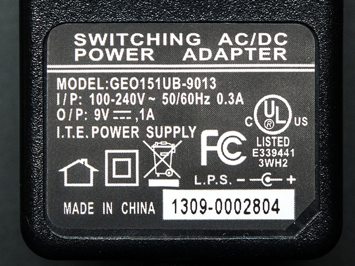 9 VDC 1000mA Regulated Switching Power Adapter