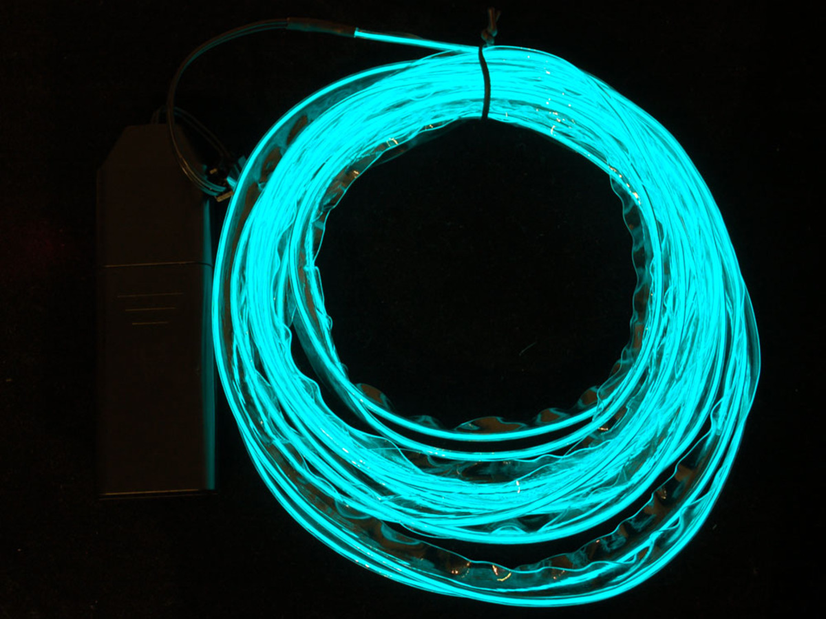 Sewable Electroluminscent (EL) Wire Welted Piping- Aqua 5 meters ID ...
