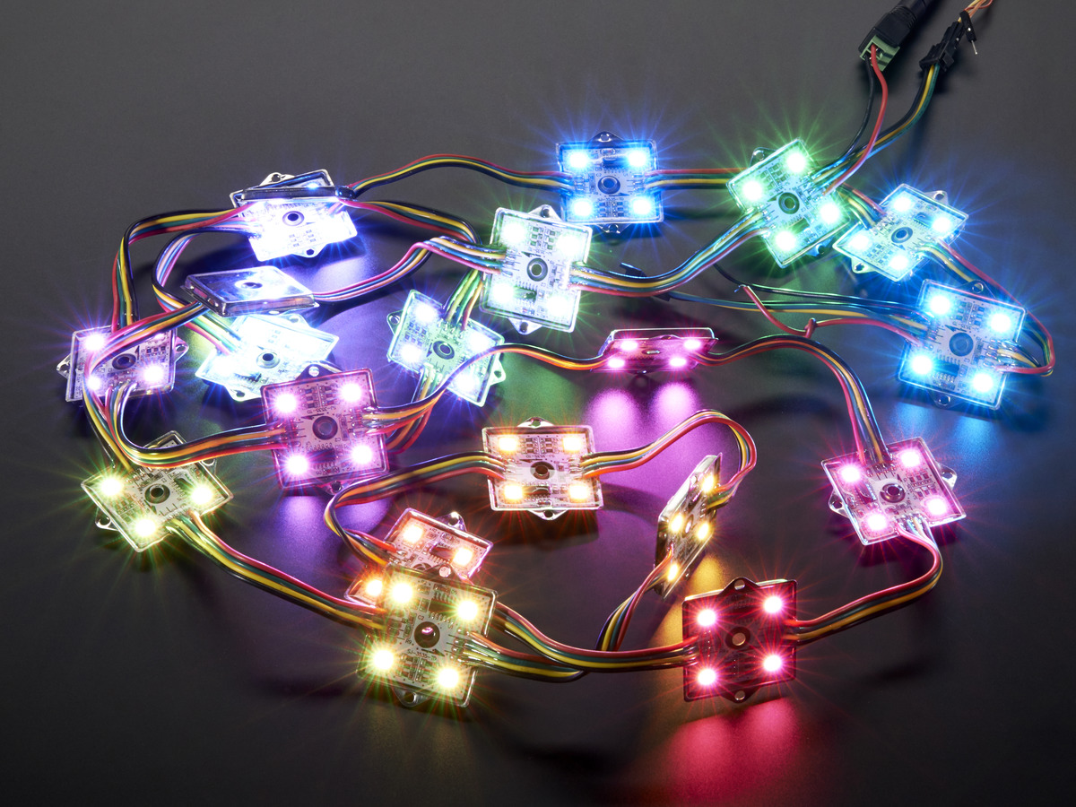 36mm Square 12v Digital Rgb Led Pixels Strand Of 20 Ws2801 Id Pic16f628 4 Pwm Controller