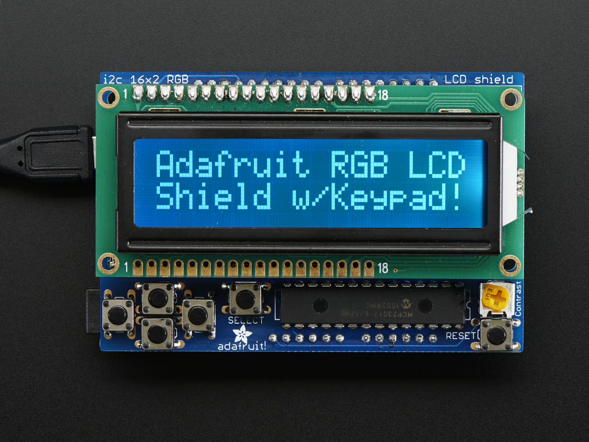 RGB LCD Shield Kit w/ 16x2 Character Display - Only 2 pins used