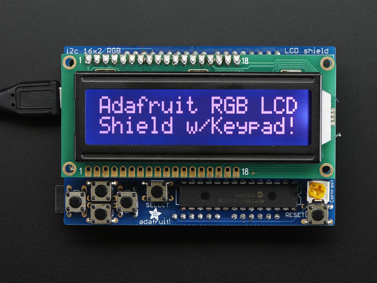 Rgb Lcd Shield Kit W 16x2 Character Display Only 2 Pins