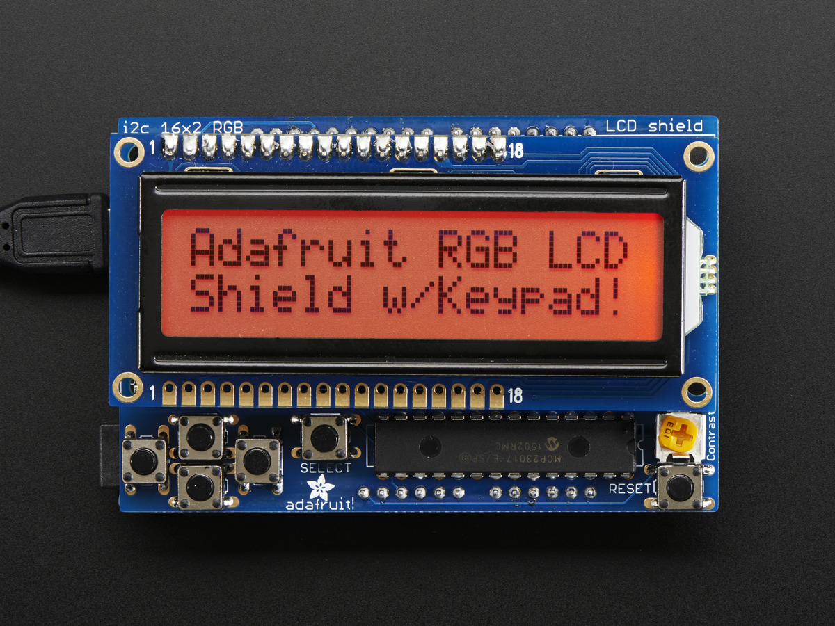 Rgb Lcd Shield Kit W 16x2 Character Display Only 2 Pins Used Pin Description For Interfacing With Microcontrollers On