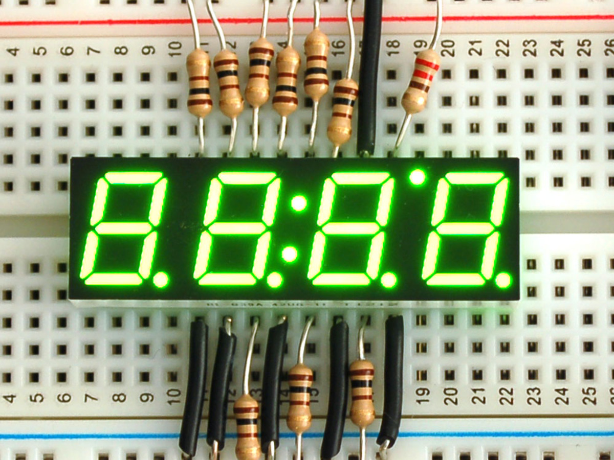 "Green 7-segment clock display - 0.39"" digit height ..."