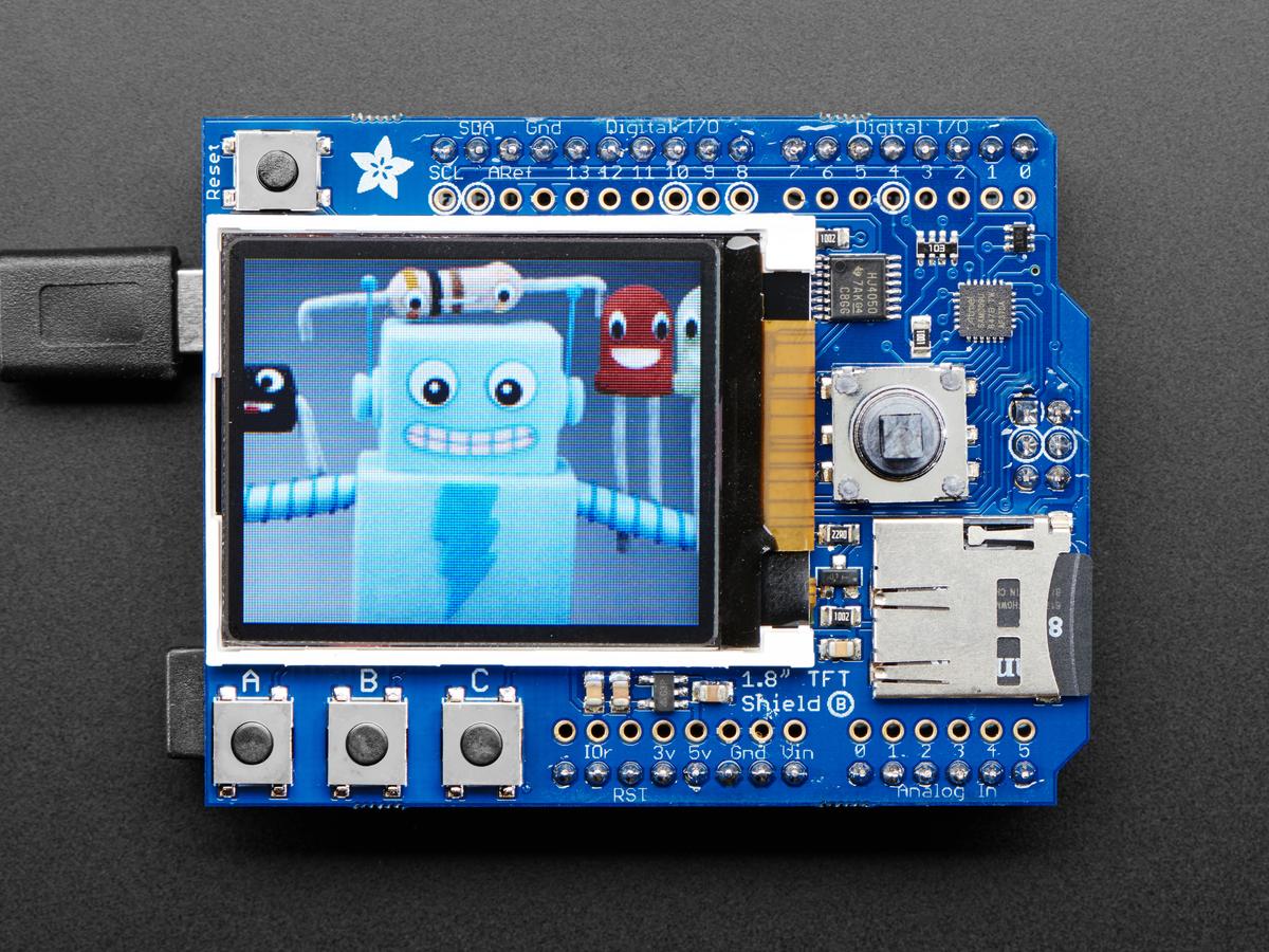 adafruit 1 8 color tft shield w microsd and joystick v 2 id 802