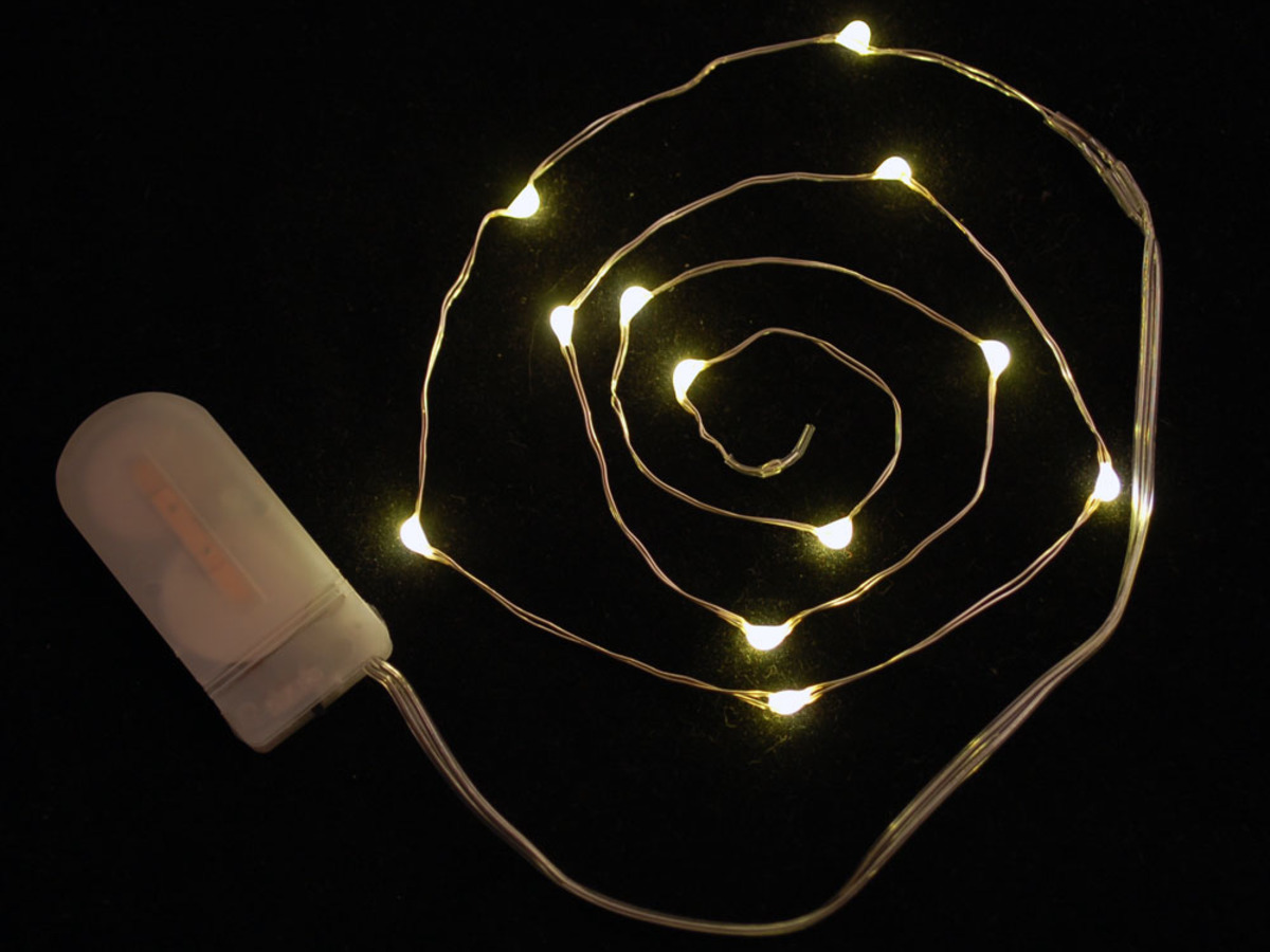 Wire Light LED Strand - 12 Warm White LEDs + Coin Cell Holder ...