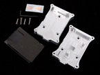Topdown shot of assembly pieces and screws for milled aluminum case for Raspberry Pi model B.