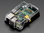 Angled shot of assembled clear Pi Case for Raspberry Pi Model A or B.