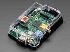 additional angled shot of assembled clear Pi Case for Raspberry Pi Model A or B.