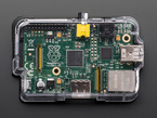 Top-down shot of assembled clear Pi Case for Raspberry Pi Model A or B.